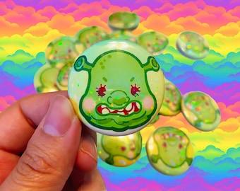 Kawaii Pastel Shrek Ogre Chibi Holographic Rainbow Iridescent Sparkle Glitter Sprinkle Pin Button