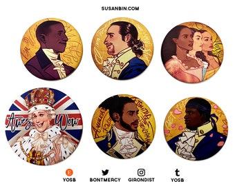 Hamilton Musical Velvet Silk Matte Pin Buttons (Alexander Hamilton, Aaron Burr, Schuyler Sisters, Marquis de Lafayette, Hercules Mulligan)