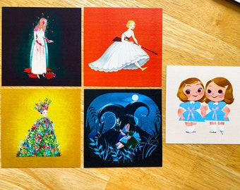 Horror Movie Icon Final Girls Cartoon Illustration Square Art Prints (Carrie, Midsommar, Ready Or Not, Pan's Labyrinth, The Shining)