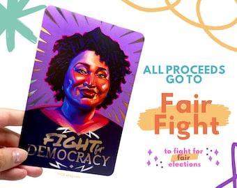 Stacey Abrams FIGHT FOR DEMOCRACY Silver Foil Edition Vote Blue Wave Democratic Georgia Fundraising Portrait Postcard Art Print Illustration