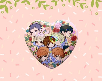 OHSHC Ouran High School Host Club Chibi Heart Holographic Sparkle Heart Shaped Pin Button