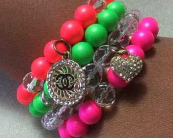 Neon Swarovski pearl set