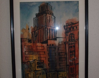 Listed Artist George Graveldinger Industrial Watercolor Watercolor Painting