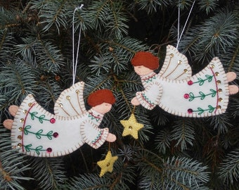 wool felt angel ornaments angel christmas tree ornaments embroidered angel christmas decorations embellished christmas angels - Christmas Angel Decorations
