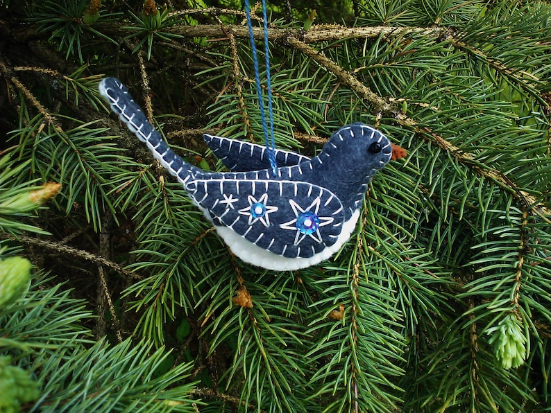 Junco Ornament Tutorial Junco Ornament Digital File Sewing Pattern Felt Bird Pattern Black-Eyed Junco Pattern DIY Bird Ornament