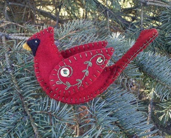 Wool Felt Cardinal Ornament, Cardinal Christmas Ornament, Northern Cardinal,  Red Bird, Bird Ornament, Wool Felt Ornament - Wool Felt Cardinal Ornament Cardinal Christmas Ornament Etsy
