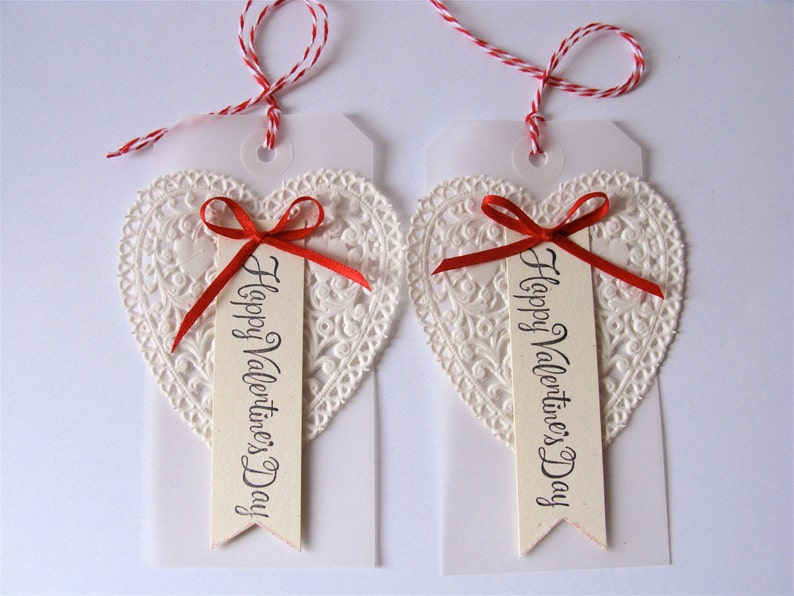 Valentines Day Tag Handmade Set/2  Valentine Decor  image 0