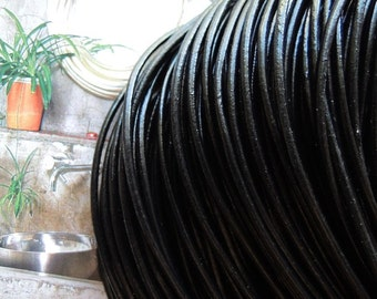 16 Feet x 2.0mm diameter black  real leather cord/strand/string --C016