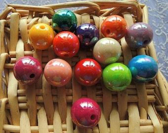 20Pcs  Mixed Color Metallic Acrylic Beads -16mm (S109)