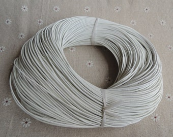 16 Feet x 1.5mm diameter white  real leather cord/strand/string --C051
