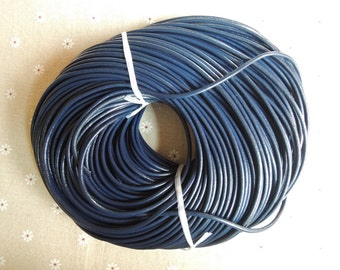 16 Feet x 3.0 mm diameter dark bule  real leather cord/strand/string --C057