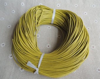 16 Feet x 1.5mm diameter Mustard yellow  real leather cord/strand/string --C052