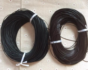 16 Feet x 1.0mm diameter black / dark brown real leather cord/strand/string --C073-74