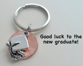 Cap and Diploma Penny Keychain, Graduation Gift, Lucky Penny Keychain, Graduate Gift, Class of 2018 Gift, New Graduate Gift, Good Luck Gift