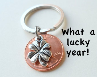 GPS Keychain Graduation Keychain Boyfriend Gift Lucky Penny Coordinate Keychain with Lucky Penny Mens Personalized Keychain Anniversary Gift