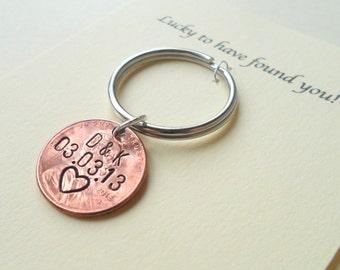 Personalized Couple Keychain, Lucky Penny Keychain, Initial Key Chain, Anniversary Gift for Husband, Wife, Boyfriend Girlfriend Keychains