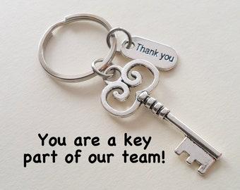 Employee Appreciation Gift Keychain, Key Charm Keychain, Employee Gift, Coworker Gift, Work Team Gift, Thank you Gift, Teacher Gift