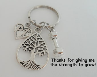 Physical Therapist Appreciation Gift, Keychain Gift for PT, PT Appreciation Gift, Thank You Gift for Physical Therapist Staff, Tree & Weight