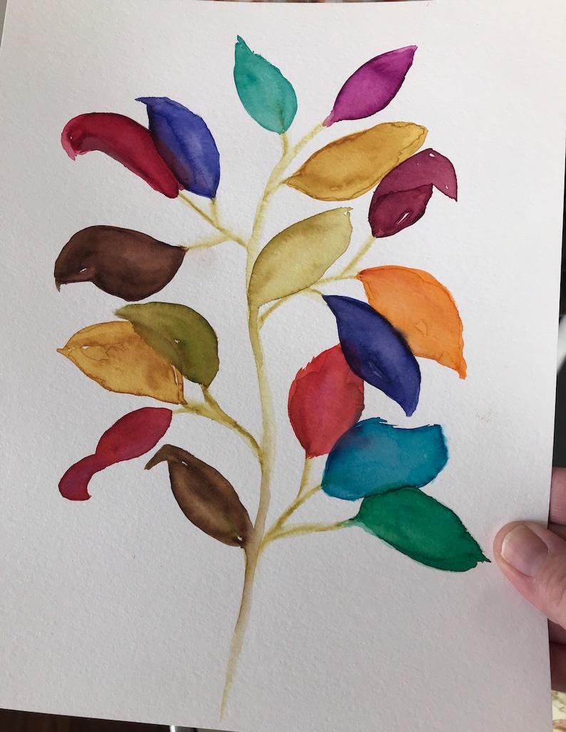 8 x 10 modern deep warm colorful tones original watercolor contemporary flowers boho art multi-color painting