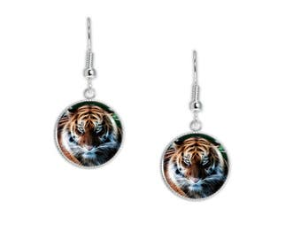 "Tiger Portrait Flame Effect Style Illustration Dangle Earrings 3/4"" Artwork Charms in Silver Tone"