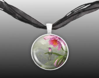 """Brazilian Ruby Hummingbird Perched on a Pink Orchid Art Painting 1"""" Pendant Necklace in Silver Tone"""