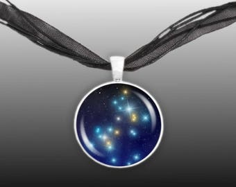 "Great Dog Constellation Canis Major Illustration 1"" Pendant Necklace in Silver Tone"