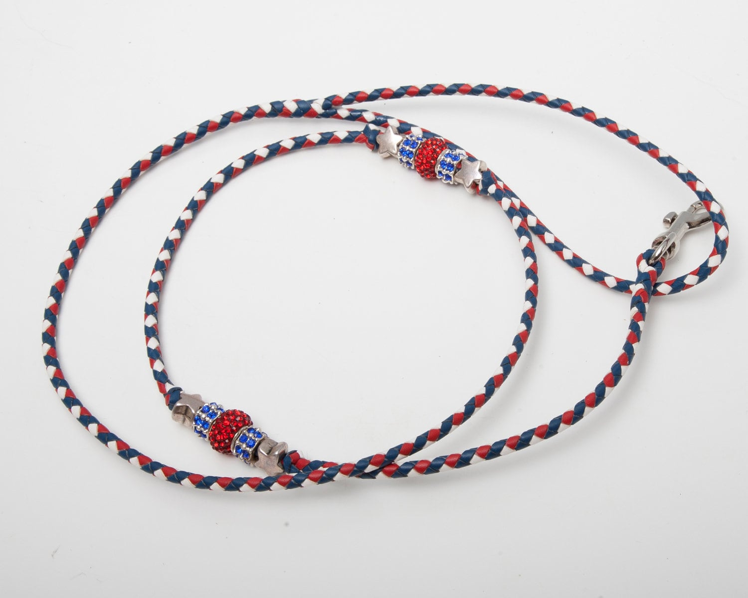 Kangaroo Leather Braided Dog Show Lead Of Royal Blue