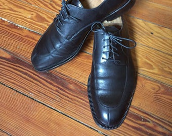 Newer Vintage Cole Haan City Black Split Toe Blucher Shoes Made in Italy 10.5D
