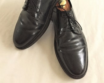 babca886ed6 Vintage Black Shell Cordovan Plain Toe Blucher Shoes 11D