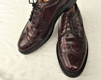 6ab9ee5c01 Vintage 90s Florsheim Royal Imperial Burgundy Longwing Shoes 33892 7.5EEE