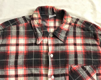 836905f4 Vintage 70s 50s Style JCPenney Print Flannel Shirt Large