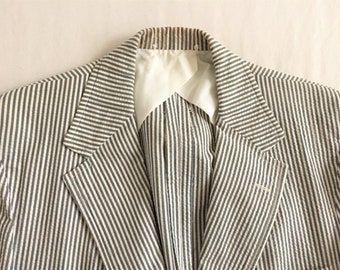 0a06e6dd4d184 Vintage 70s Brooks Brothers Blue Gray Seersucker Sport Coat 42-44