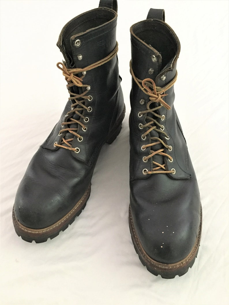 29b0a51ab2720 Vintage 80s Red Wing Loggermax Black Logger Boots 13