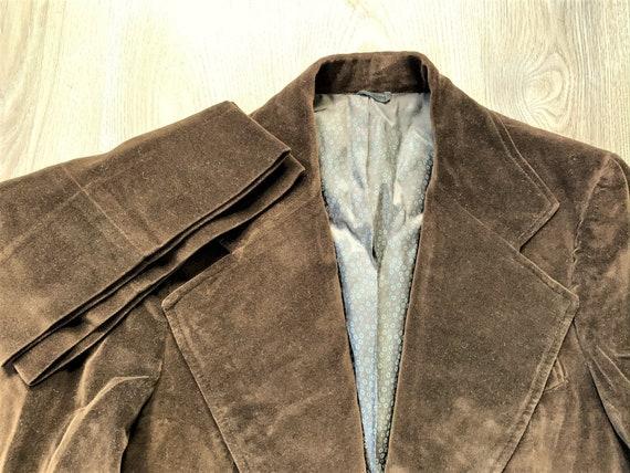 Vintage 70s Brown Velvet Suit 38, 31x30