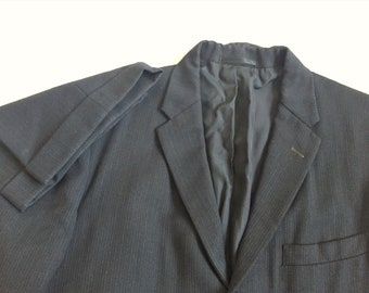 Vintage 60s 1964 Dated Richman Brothers Blue Black Striped Suit 40-42, 34x27