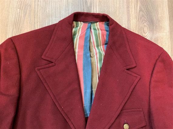 Vintage 70s 1930s Style Red Belted Back Sport Coat