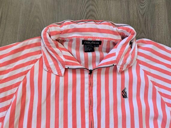 Vintage 90s Nautica White Pink Striped Jacket XL