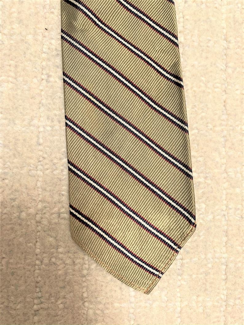 Vintage 60s Neil/'s Beige Maroon Repp Stripe Skinny Tie