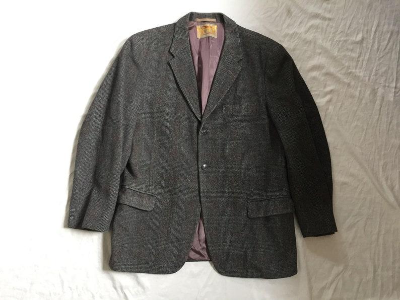 Vintage 60s Loden Frey Gray Plaid Sport Coat42