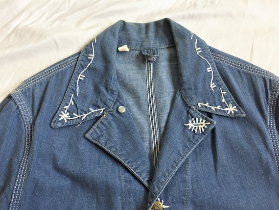 Vintage 60s Sears Embroidered Denim Chore Coat 36