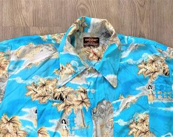 Vintage 70s Kingsport Rayon Aloha Hawaiian Shirt XL