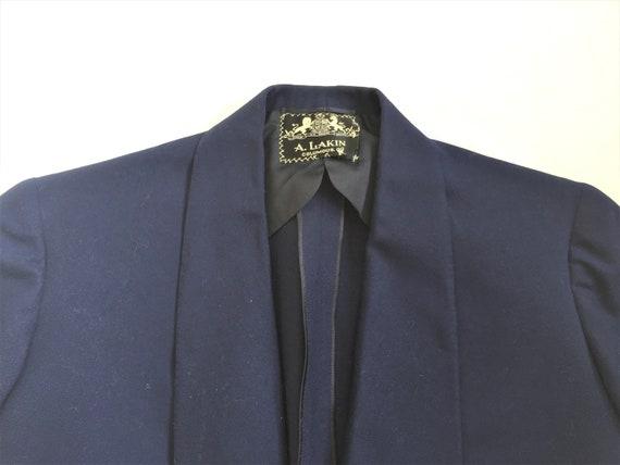 Vintage 40s 1940 Dated A Lakin Bespoke Dark Blue Shawl Collar Sport Coat 36