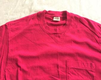 Vintage 80s Fruit of the Loom Hot Pink Pocket T Shirt Large