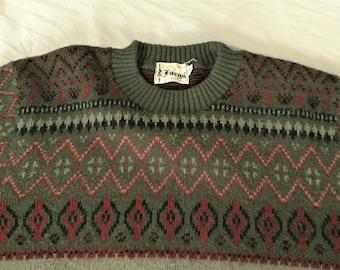 Vintage 60s Fargo Green Red Ski Sweater Medium