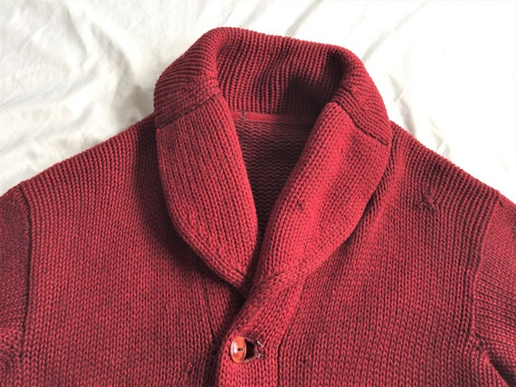 Vintage 1920s 1930s Heavy Wool Shawl Collar Cardig
