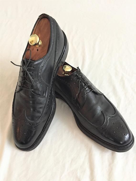 Vintage 70er Jahre Barrie Ltd. Black Longwing V Klampe Schuhe 13C