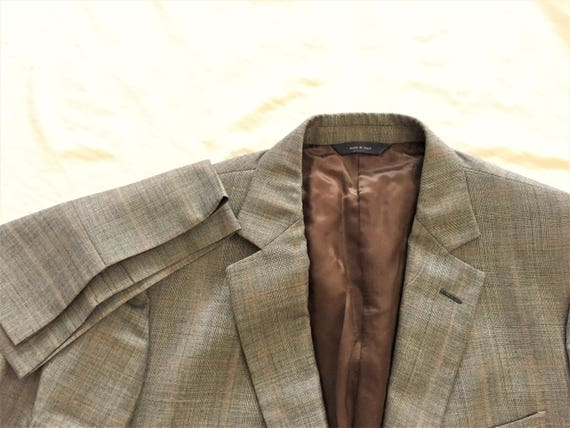 Newer Vintage Brooks Brothers Made in Italy Dark Blue Subtle Plaid Suit 43R, 38 Waist