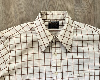 Vintage 70s JCPenney Towncraft White Brown Geometric Pattern Shirt XL