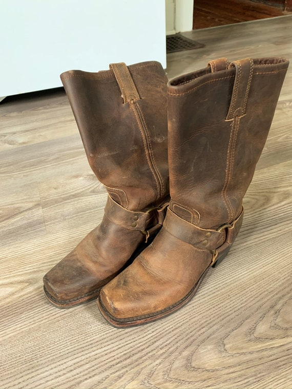 Vintage Frye Brown Harness Engineer Boots 7.5M