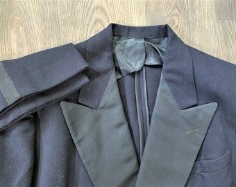Vintage 40s Towertown Clothes Midnight Blue Double Breasted Tuxedo 42, 34x31